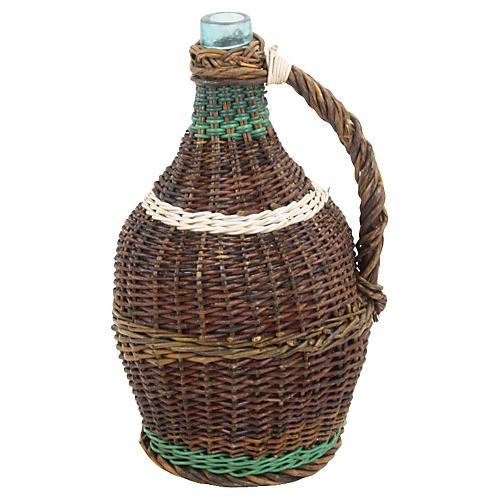 French Wicker-Wrapped Glass Demijohn