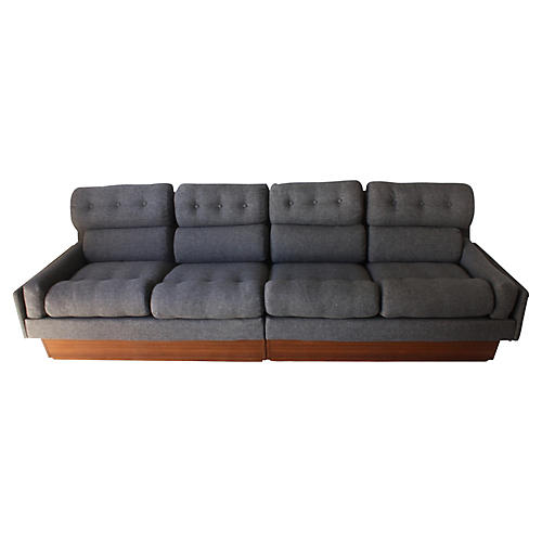 Danish Modern Teak & Gray Tweed Couch