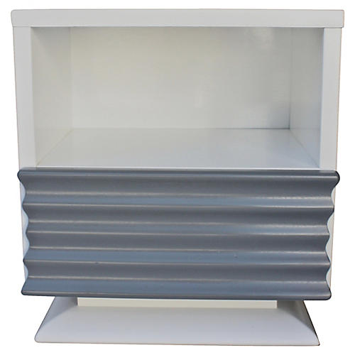 Art Deco Bespoke White & Gray Nightstand