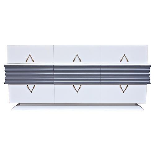 Art Deco Bespoke White & Gray Dresser