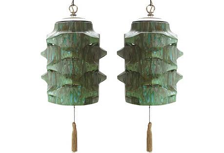 Green & Aqua Drip Glaze Pendants. Pair