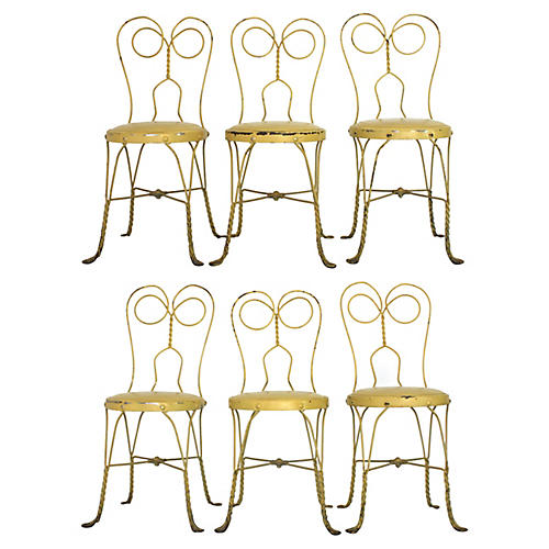 Yellow Parisian Garden Chairs, S/6