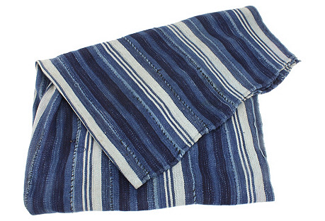African Indigo Striped Mud Cloth Throw