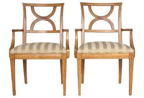 1980s Inlaid Wood Armchairs, Pair