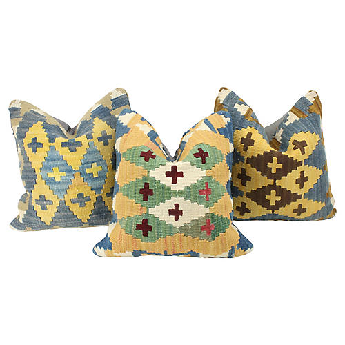 Turkish Kilim Throw Pillows, S/3