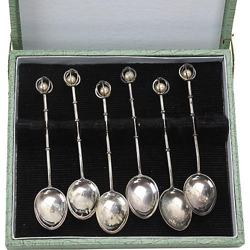 Sterling & Pearl Demitasse Spoons, S/6