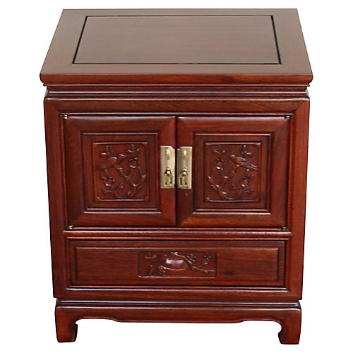 Asian Carved Rosewood Nightstand