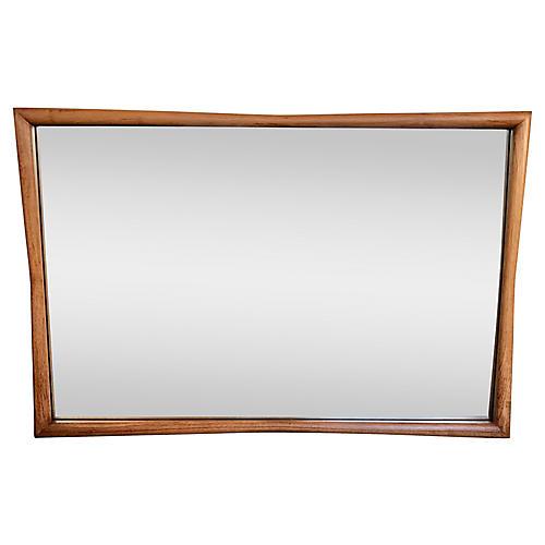 Midcentury Large-Scale Pecan Mirror