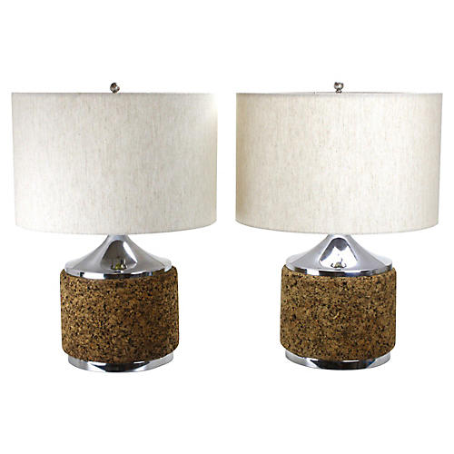 Modernist Cork & Chrome Lamps, Pair