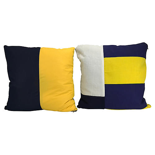 Nautical Signal Flag Throw Pillows, Pair