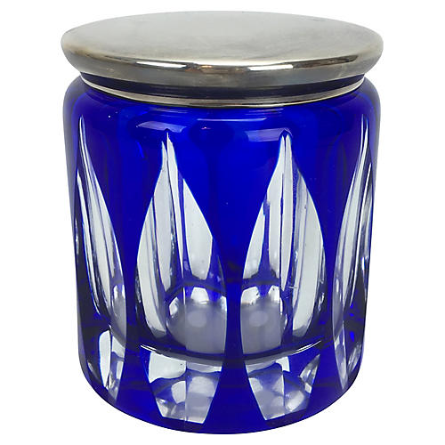 Cobalt Art Glass Box w/ Silverplate Lid