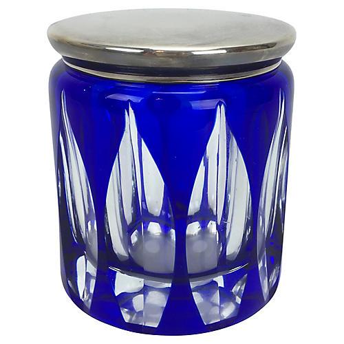 Cobalt Art Glass Box w/ Silverplate Lid