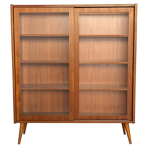 Danish-Modern Teak Glass-Front Bookcase