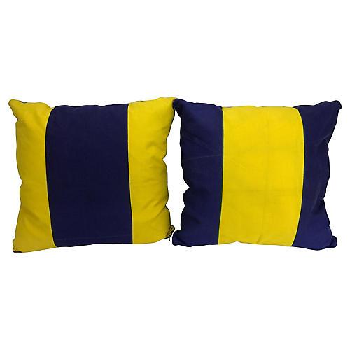 Nautical Signal Flag Throw Pillows, Pair