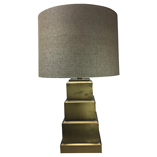 1980s Geometric Brass Table Lamp
