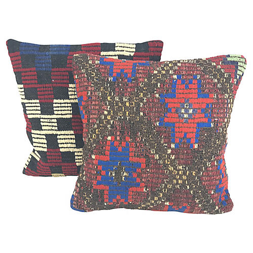 Turkish Kilim Throw Pillows, Pair