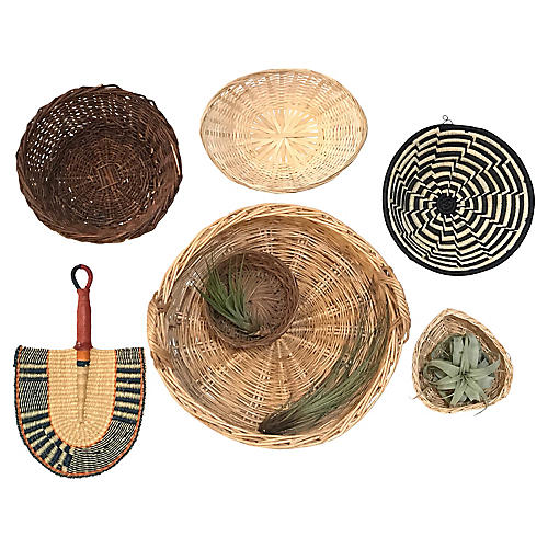 Handwoven Basket Wall Accents, S/7
