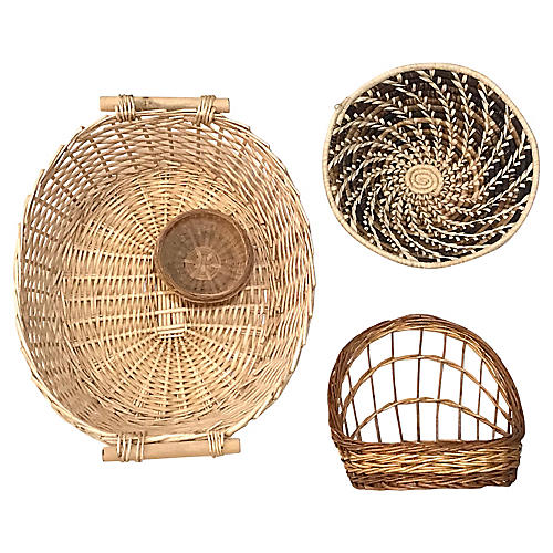 Handwoven Basket Wall Accents, S/4