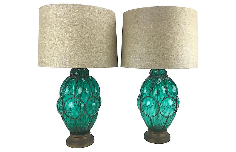 Emerald Green Table Lamps Pair Vintage Lighting Vintage