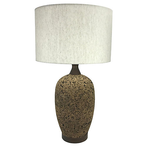 Mid-Century Modern Cork & Walnut Lamp