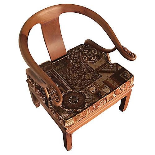 Asian Ming Teak Horseshoe Chair