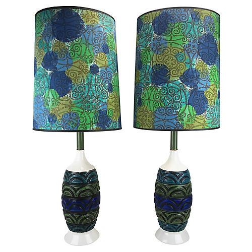 Mid-Century Modern Ceramic Lamps, Pair