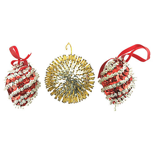 Hand-Made Sequins Push-Pin Ornaments S/3