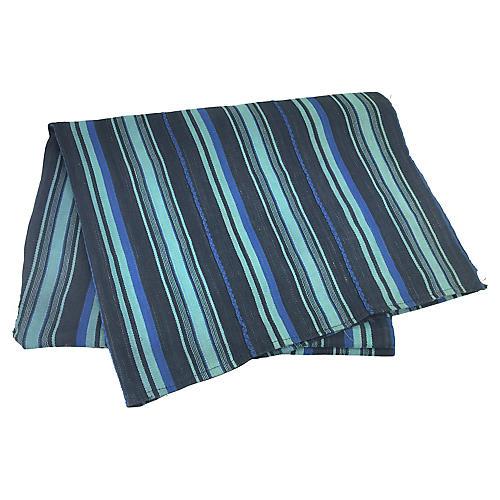 African Indigo Striped Baule Throw