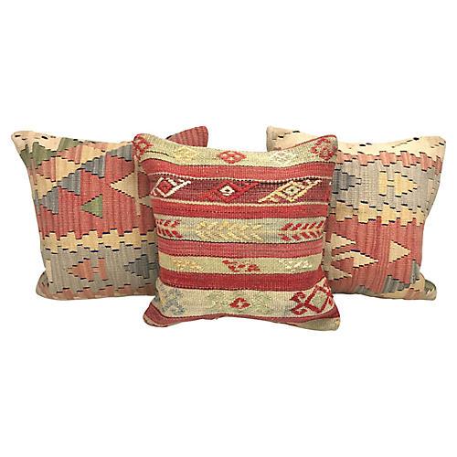 Turkish Kilim Throw Pillows, S/3