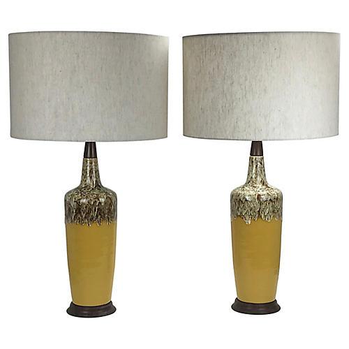 Midcentury Modern Drip Glaze Lamps, Pr