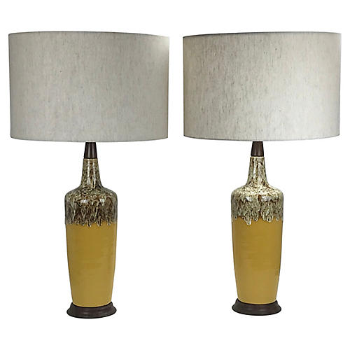 Midcentury Drip Glaze Lamps, Pair