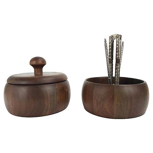 Mid-Century Modern Walnut Nut Bowls