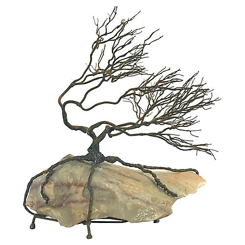 Wire Tree Sculpture on Marble