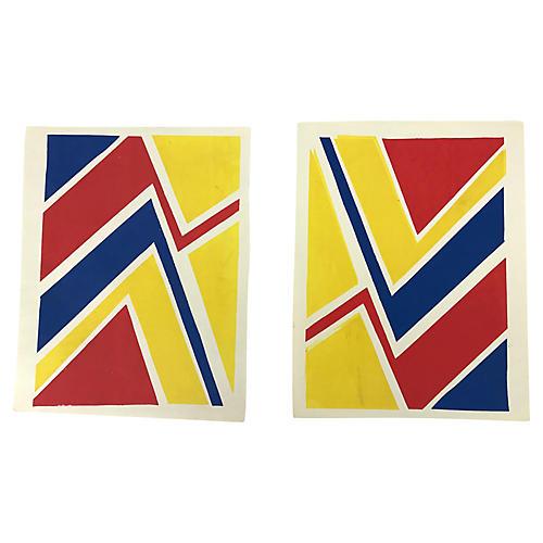 1970s Original Silkscreened Art, Pair