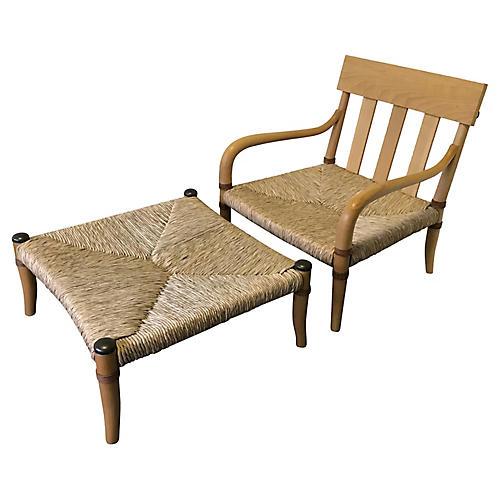 Beech & Woven Raffia Chair & Ottoman
