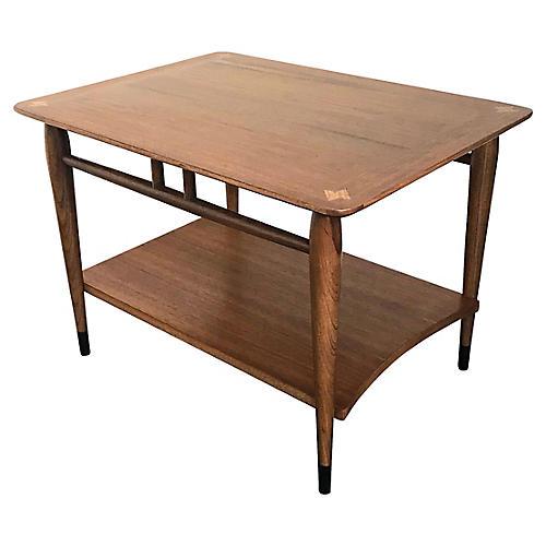 Mid-Century Modern Inlaid Wood End Table
