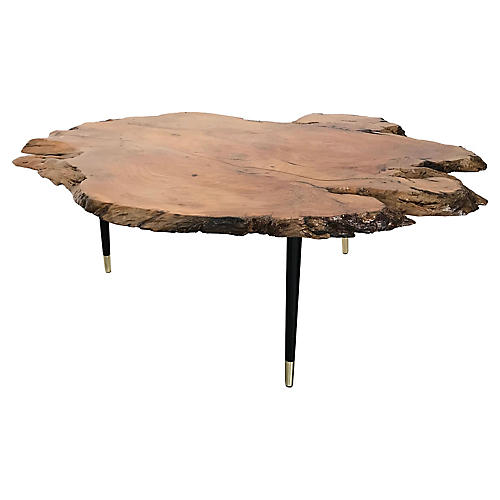Live-Edge Walnut Slice Coffee Table