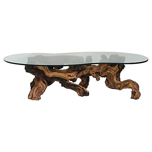 1960s Burl Wood Root Coffee Table