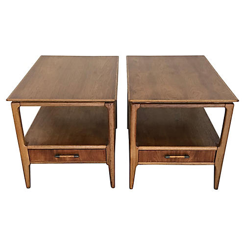 Walnut One-Drawer Side Tables, Pair