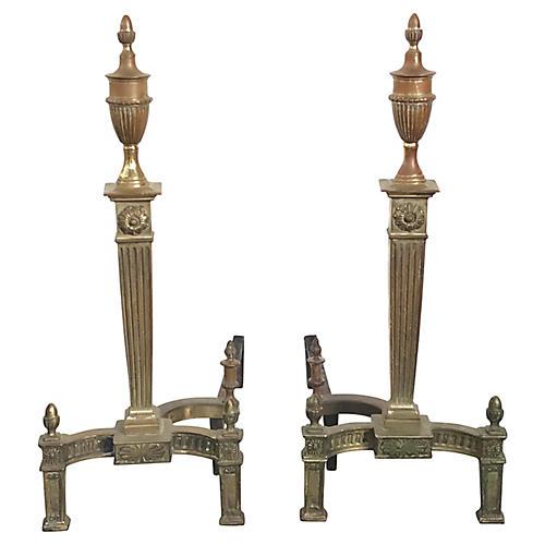 Neoclassical Brass Andirons, Pair