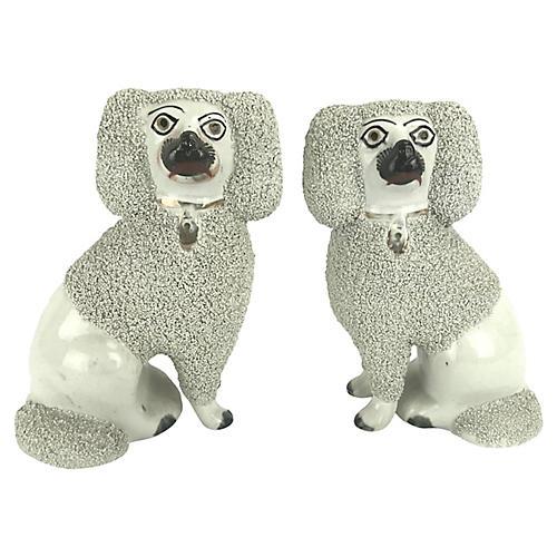 Staffordshire Poodle Dog Statuettes, Pr