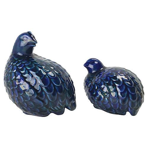 Ceramic Drip Glaze Quail, Pair