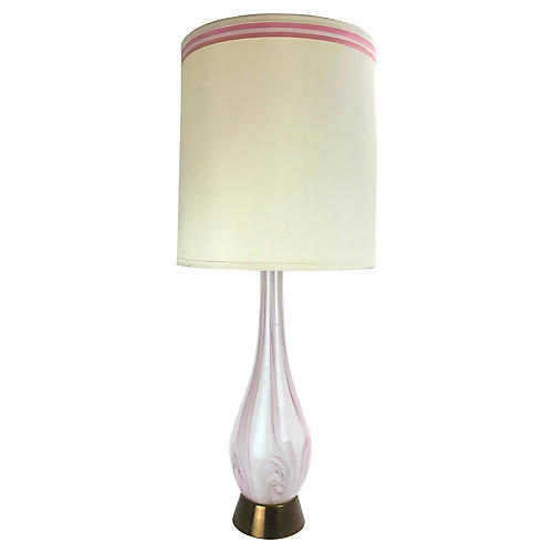 Pink Swirl Murano Glass Table Lamp
