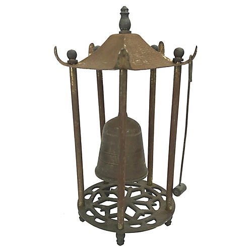 Rustic Asian Brass Bell with Striker