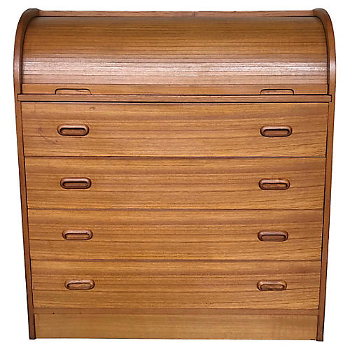 Roll-Top Danish Modern Secretary Desk