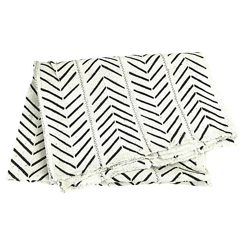 African White & Black Mud Cloth Throw