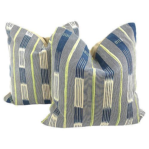African Indigo Baule Cloth Pillows, Pair