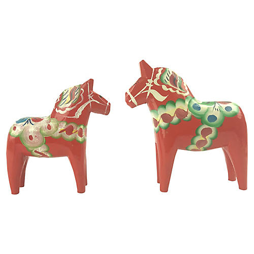 Swedish Dala Horses, Pair