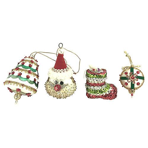 Hand-Made Push-Pin Ornaments, S/4