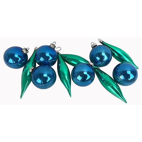 1960s Mercury Glass Ornaments, S/11